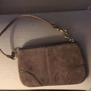 Authentic brown suede wristlet
